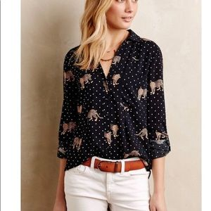 Maeve from Anthropologie Leopard Print Blouse